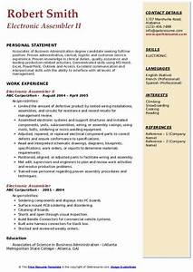 Electronic Assembler Resume Samples