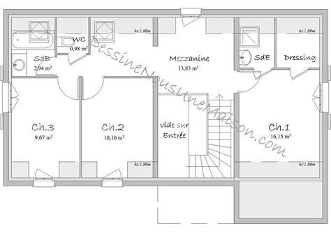 plan maison etage 4 chambres 1 bureau plans de maisons individuelles avec étage ou combles