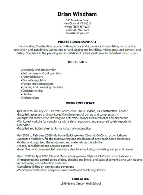 Labor Resume Exle by Sle General Laborer Resume Professional Construction Laborer Resume Templates To