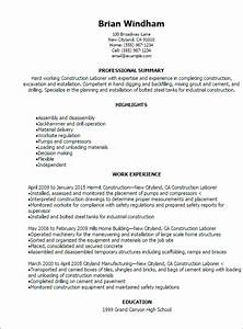 Professional Construction Laborer Resume Templates to