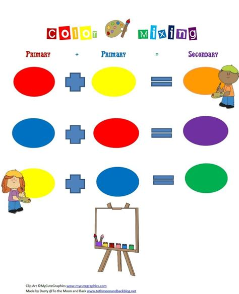 free color mixing printable for primary and secondary 474 | 1134db2d976157e944243ee413ab7976