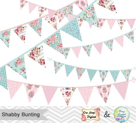 shabby chic bunting digital shabby chic bunting clipart shabby by tracydigitaldesign