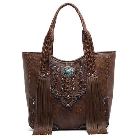 western flower fringe tote western style crown handbags onsale handbag