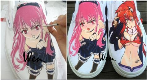 anime gifts for christmas wen white painted anime shoes slip on shoes design custom one luffy s