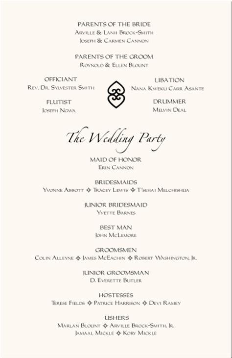 wedding reception program template american wedding programs adinkra wedding program wording program sles