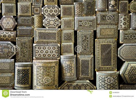 Arts Crafts Lamps by Traditional Souvenir Boxes In Market Of Cairo Egypt Stock