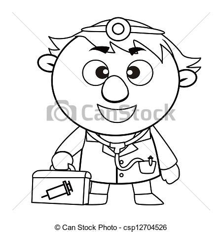 14920 doctor clipart black and white outlined doctor black and white coloring page