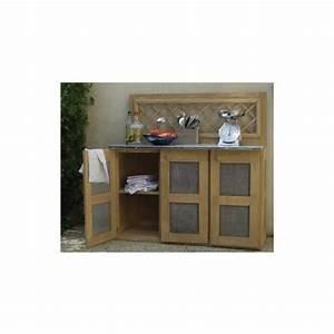 cuisine d39ete en bois et zinc pour plancha 116x51x120cm With cuisine d ete en bois