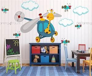 stickers chambre bebe girafe oiseaux 2619fr With chambre bébé design avec livraison de fleurs à l étranger