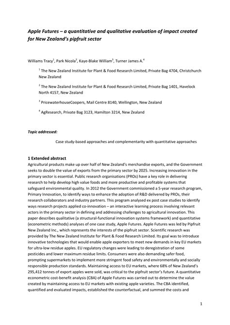 (PDF) Apple Futures – a quantitative and qualitative evaluation of impact created for New Zealand's pipfruit sector