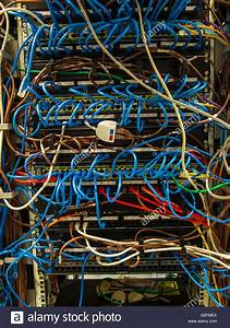 Complex Wiring In Computer Server Air Conditioned Machine Room Stock Photo  104836898