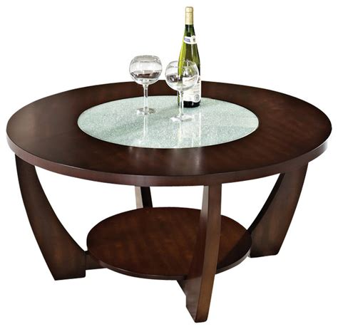 Product title jumpluff metal/glass round coffee table average rating: Steve Silver Company Rafael Cocktail Table in Cherry with Cracked Glass Insert - Transitional ...
