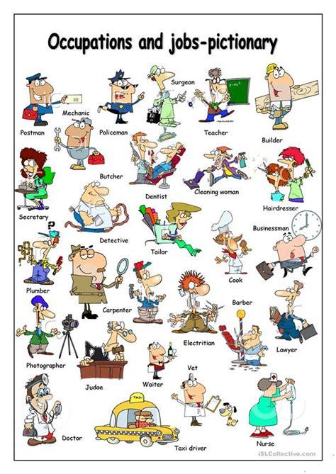 occupations pictionary worksheet  esl printable
