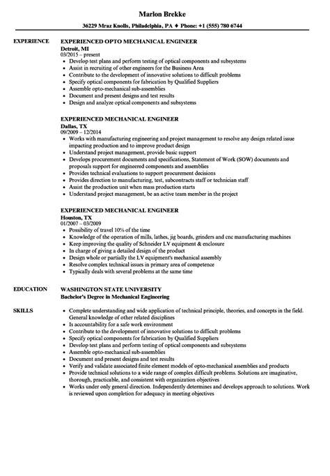 experienced mechanical engineer resume sles velvet