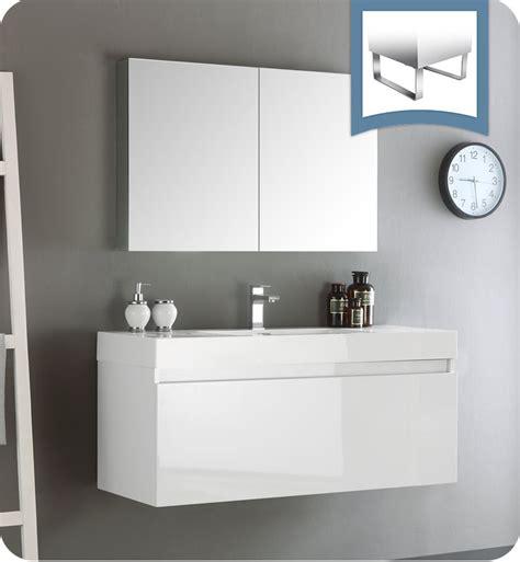 designer bathroom vanity cabinets fresca fvn8011wh mezzo 48 quot white wall hung modern bathroom