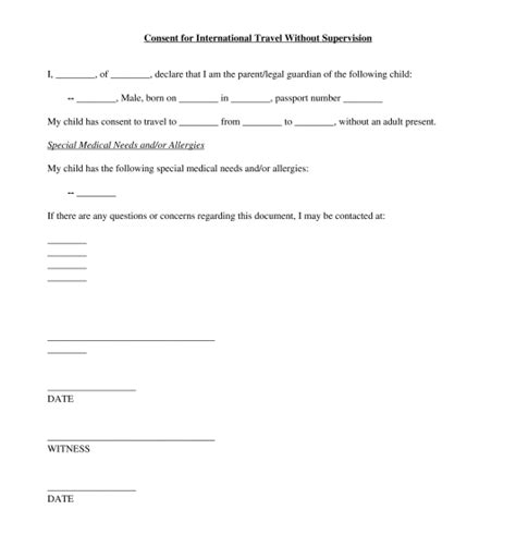 sample letter granting permission  travel  child