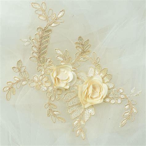 3d trims motif embroidery lace flower bridal applique