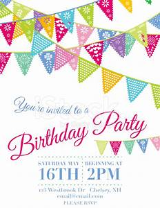 vector papel picado birthday invitation template stock With papel picado template for kids