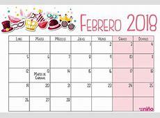 Febrero Calendario escolar 20172018 para imprimir
