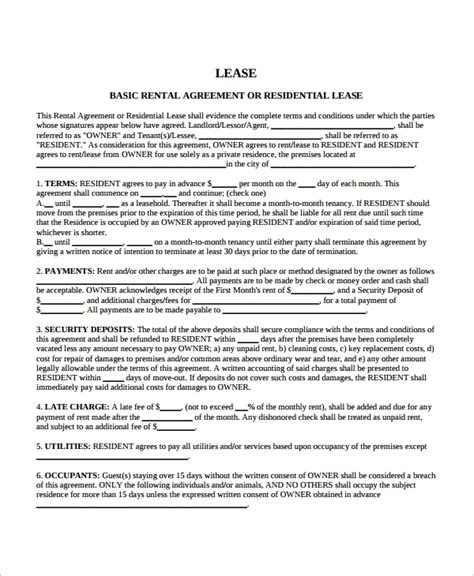 blank lease agreement templates  sample