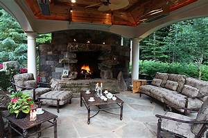 covered fire pits sloped landscaping fire pit ideas With outdoor kitchen and fireplace designs