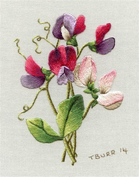 sweet pea designs flowers for trish burr embroidery