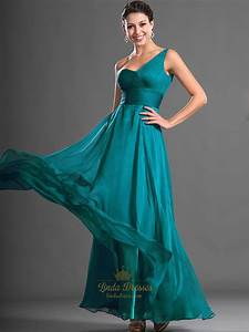 Teal One Shoulder Chiffon Floor Length Bridesmaid Dresses ...