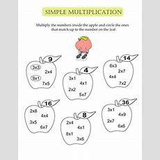 Simple Multiplication Apples  Worksheet Educationcom