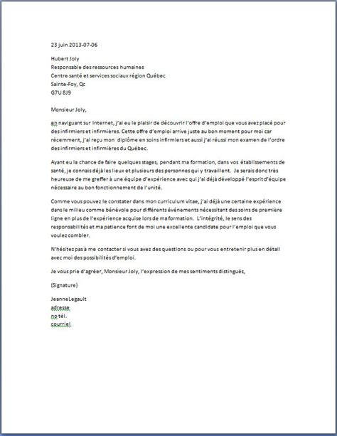 lettre de motivation cadre infirmier modele lettre demande d emploi infirmiere employment application