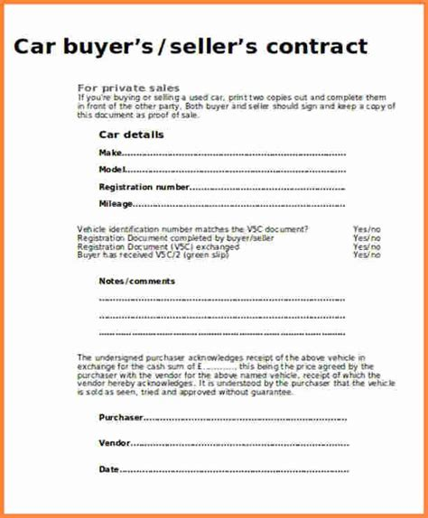 contract  selling  car contract template cars