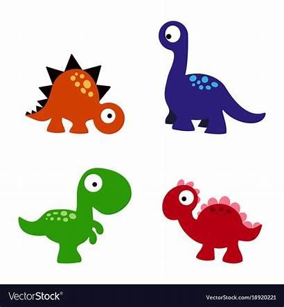 Cartoon Dinosaurs Vector Royalty Vectorstock Dinosaur Vectors