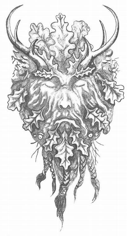 Faces Tattoo Pagan Coloring Pages Greenman Drawings