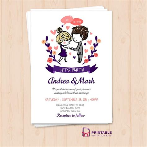lets party wedding invitation