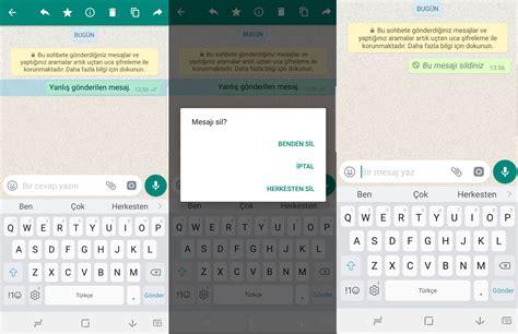 Whatsapp'ta Gönderilen Mesajları Kaşı Taraftan Silme