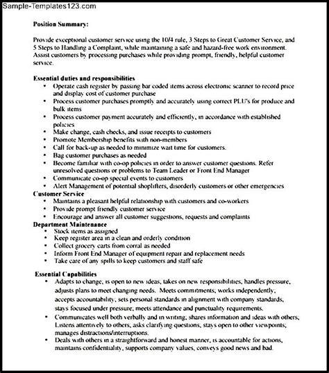 cashier description resume sle templates