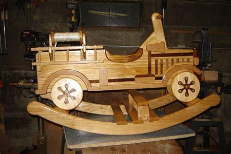wood rocking fire truck