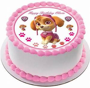 PAW PATROL SKYE 2 Edible Birthday Cake OR Cupcake Topper