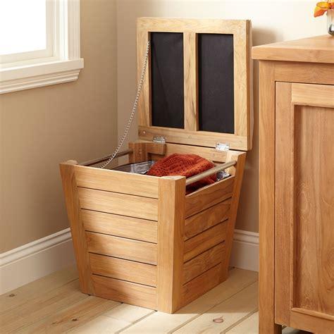 teak laundry hamper stool large bathroom