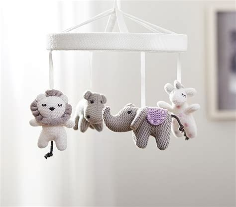 mobiles for cribs knit animal friends crib mobile pottery barn