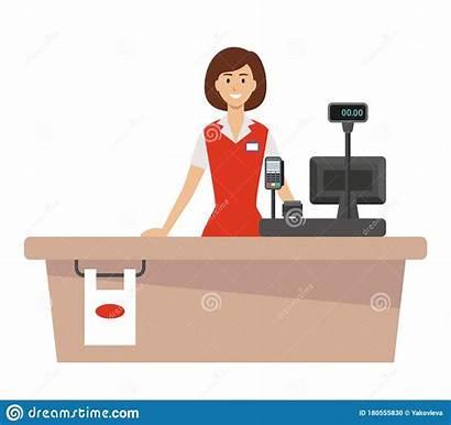 Cashier Supermarket Dreamstime Desk Clipart Vector
