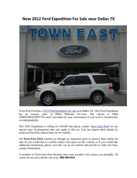 New 2012 Ford Expedition For Sale near Dallas TX