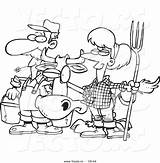 Coloring Couple Farmer Cow Cartoon Vector Outlined Toonaday sketch template