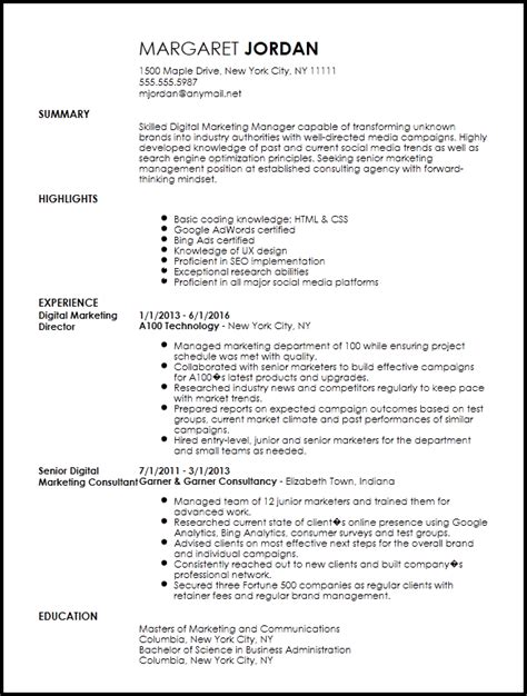 free executive digital marketing manager resume template