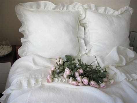 Shabby Chic Bedding Queen Top Sheet White Or Ivory Linen