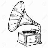 Phonograph Sketch Gramophone Record Player Drawing Vinyl Retro Clipart Vector Illustration Doodle Drawings Clipartmag Getdrawings Depositphotos sketch template