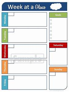 6 best images of printable week at a glance calendar With day at a glance calendar template