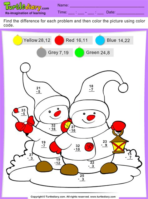 color  difference snowman worksheet turtle diary