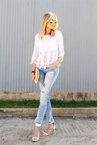 WHITE LACE TOP u0026 RIPPED JEANS | Fashion Jackson