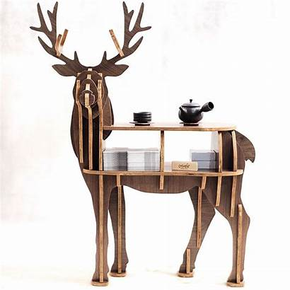 Furniture Wooden Table Reindeer End Puzzle Self