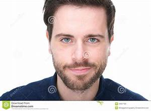 Portrait Of A Handsome Young Man With Beard Smiling Stock ...